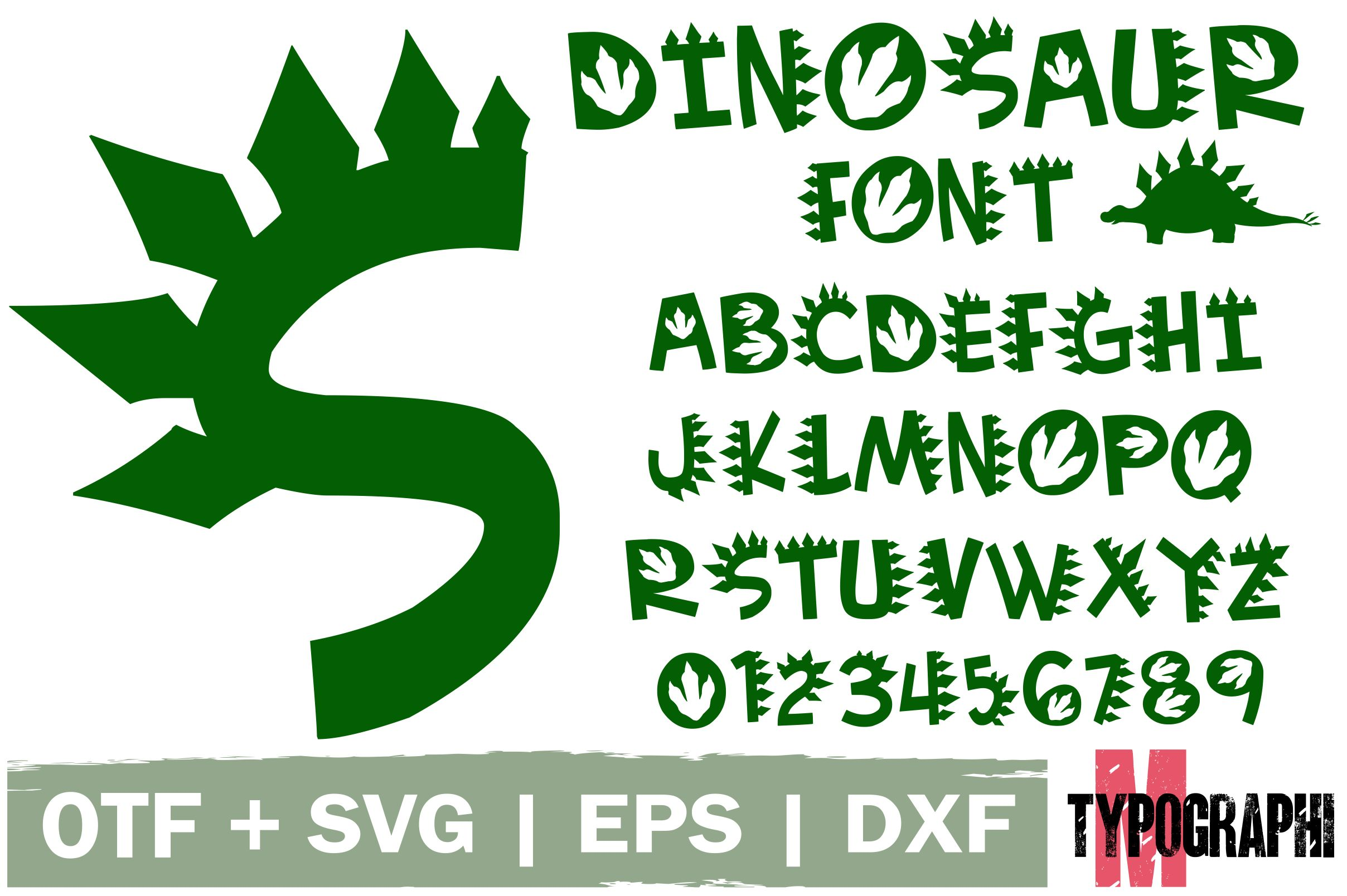 Download Free Dinosaur Font By Typography Morozyuk Creative Fabrica for Cricut Explore, Silhouette and other cutting machines.