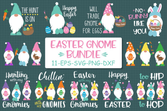 Download Free Easter Gnomes Bundle Graphic By All About Svg Creative Fabrica for Cricut Explore, Silhouette and other cutting machines.