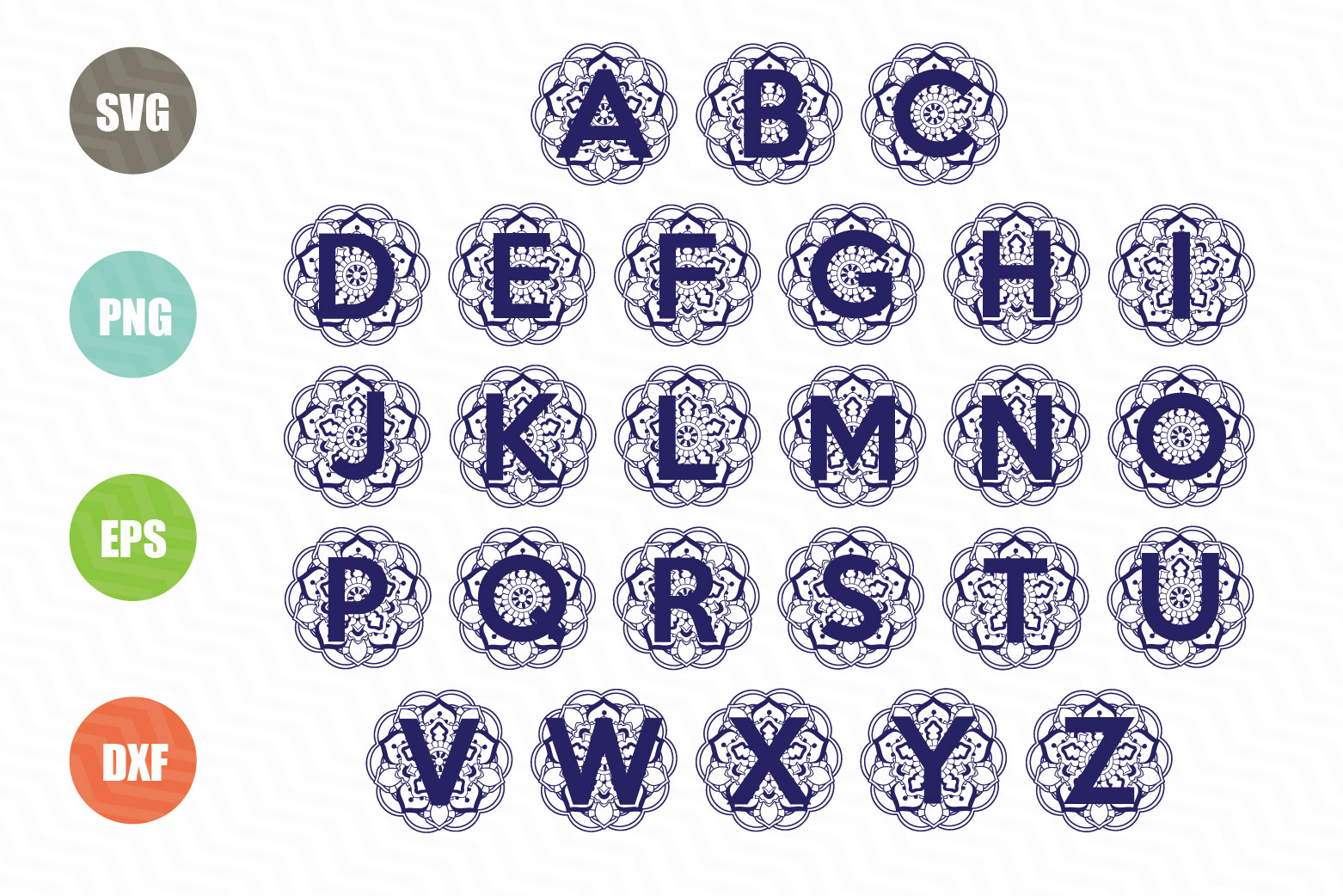 Download Free Mandala With Letters Graphic By Logotrain034 Creative Fabrica for Cricut Explore, Silhouette and other cutting machines.