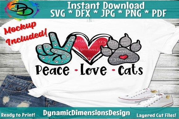 Print on Demand: Peace Love Cats Graphic Crafts By dynamicdimensions
