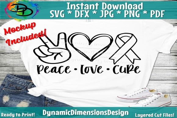 Download Free Peace Love Cure Graphic By Dynamicdimensions Creative Fabrica for Cricut Explore, Silhouette and other cutting machines.