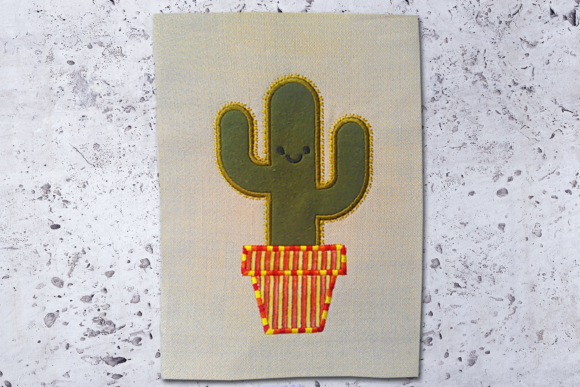 Potted Cactus Applique Single Flowers & Plants Embroidery Design By DesignedByGeeks