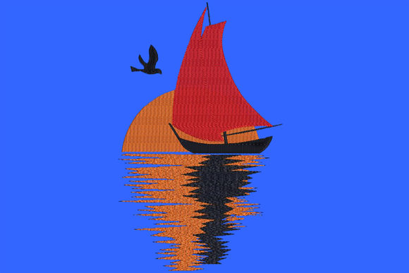 Print on Demand: Sailing Boat 12 Strand & Meer Stickdesign von Embroidery Shelter