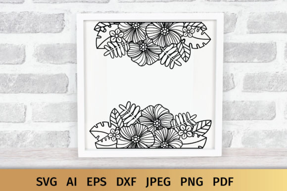 Download Free Split Floral Border Graphic By Elinorka Creative Fabrica for Cricut Explore, Silhouette and other cutting machines.