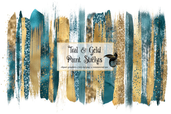 Download Free Teal And Gold Brush Strokes Clipart Graphic By Digital Curio for Cricut Explore, Silhouette and other cutting machines.
