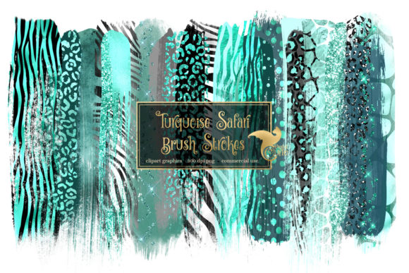 Print on Demand: Turquoise Safari Brush Strokes Graphic Illustrations By Digital Curio