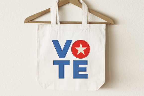Vote Square and Star Applique Awareness & Inspiration Embroidery Design By DesignedByGeeks