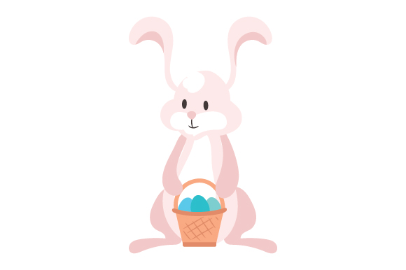 Bunny Holding Easter Basket Svg Cut File By Creative Fabrica