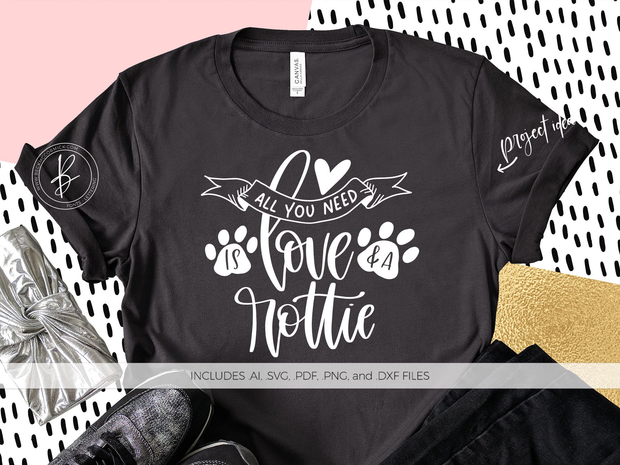 Download Free All You Need Is Love And A Rottie Graphic By Beckmccormick for Cricut Explore, Silhouette and other cutting machines.