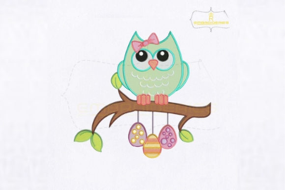 Beautiful Easter Owl Ostern Stickdesign von royalembroideries