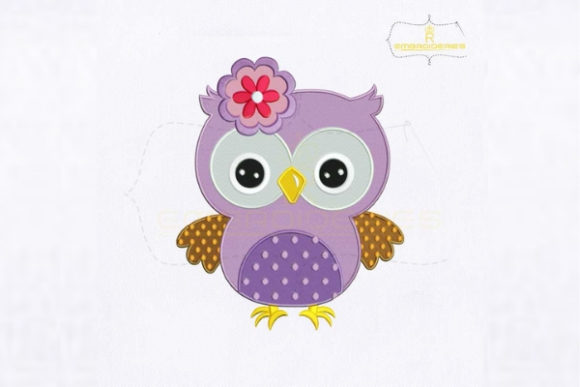 Beautiful Purple Baby Owl Baby Animals Embroidery Design By royalembroideries