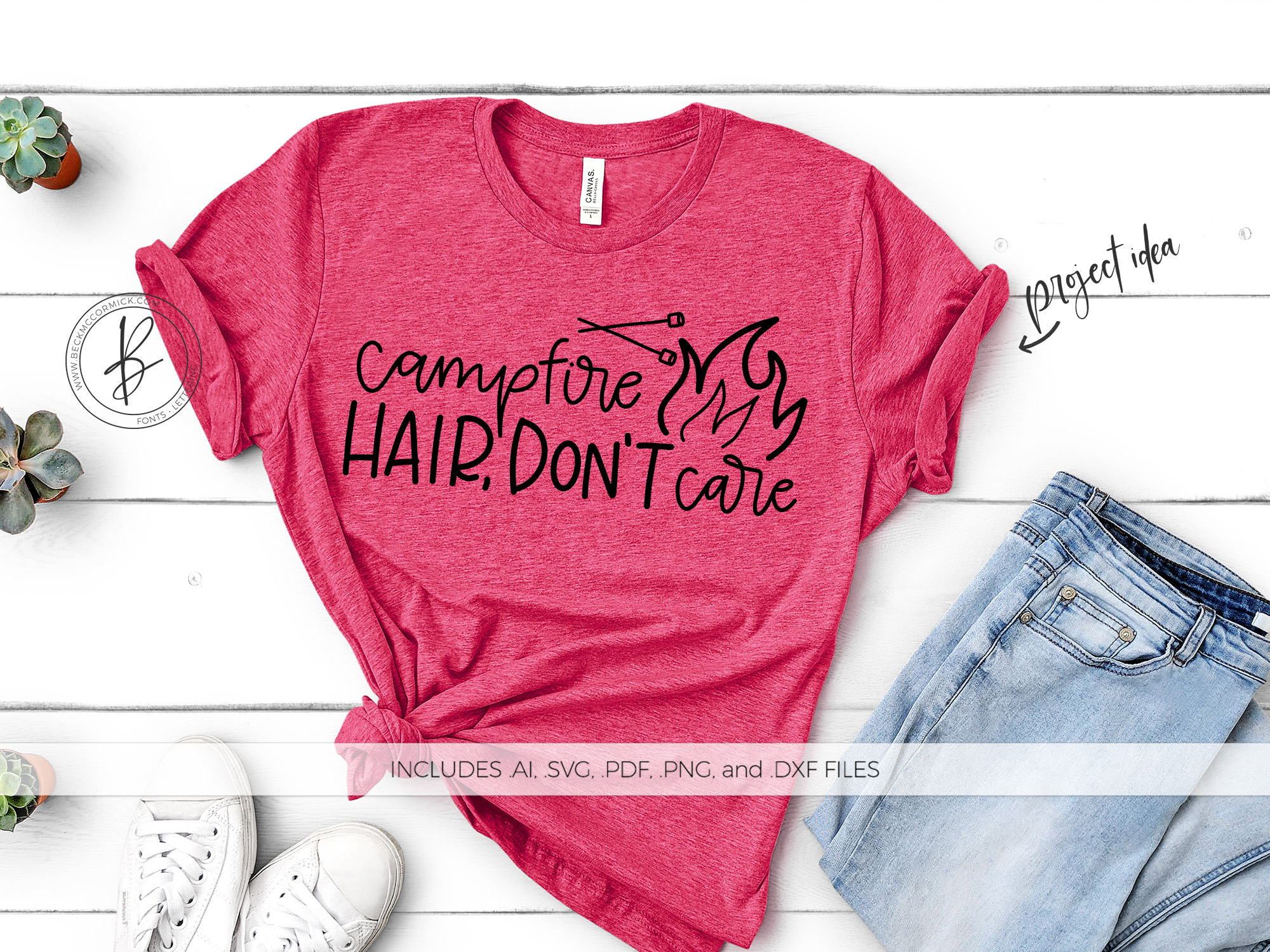 Download Free Campfire Hair Don T Care Graphic By Beckmccormick Creative Fabrica for Cricut Explore, Silhouette and other cutting machines.