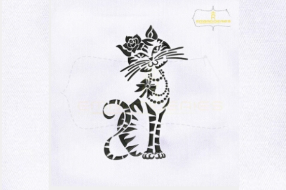 Silhouette Black Cat Cats Embroidery Design By royalembroideries