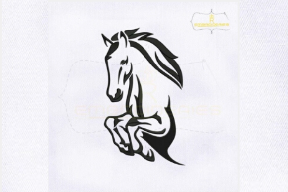 Black Outline Horse Farm Animals Embroidery Design By royalembroideries