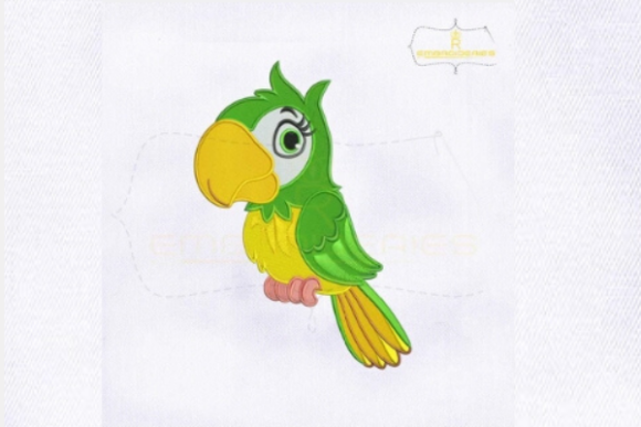 Green Parrot Birds Embroidery Design By RoyalEmbroideries