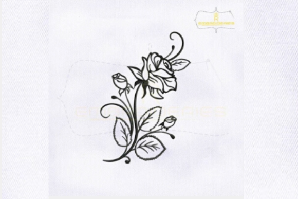 Rose Flower Stencil Outline Flowers Embroidery Design By royalembroideries