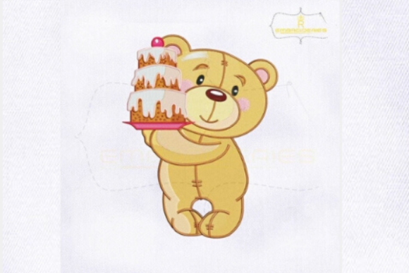 Teddy Bear Birthday Cake Woodland Animals Embroidery Design By RoyalEmbroideries