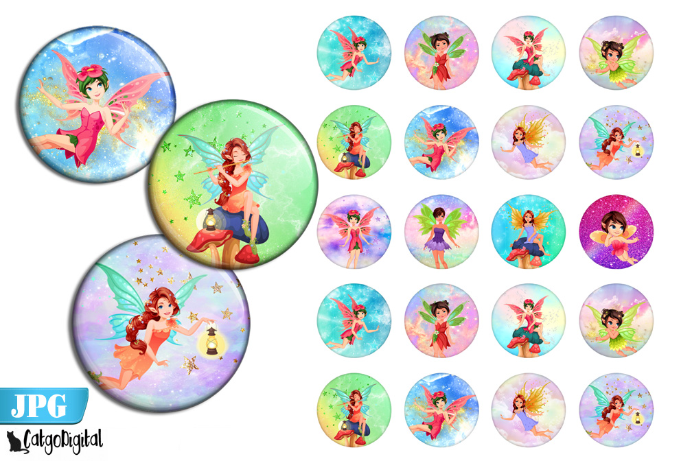 Download Free Cute Fairy Bottle Cap Printable Circles Graphic By Catgodigital for Cricut Explore, Silhouette and other cutting machines.