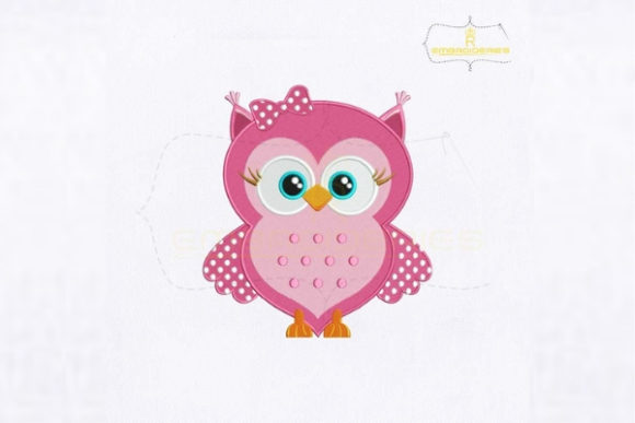 Cute Pink Baby Owl Baby Animals Embroidery Design By RoyalEmbroideries