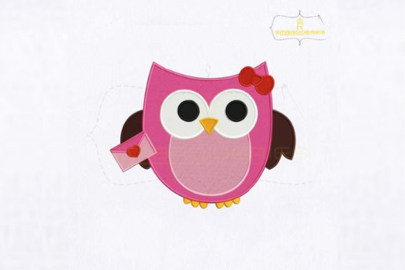 Cute Pink Owl Letter Birds Embroidery Design By RoyalEmbroideries