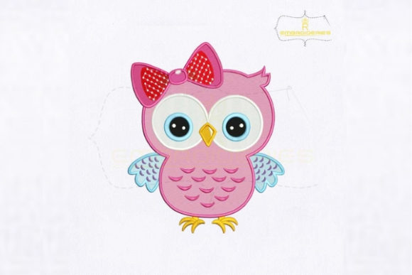 Darling Pink Owl Birds Embroidery Design By RoyalEmbroideries