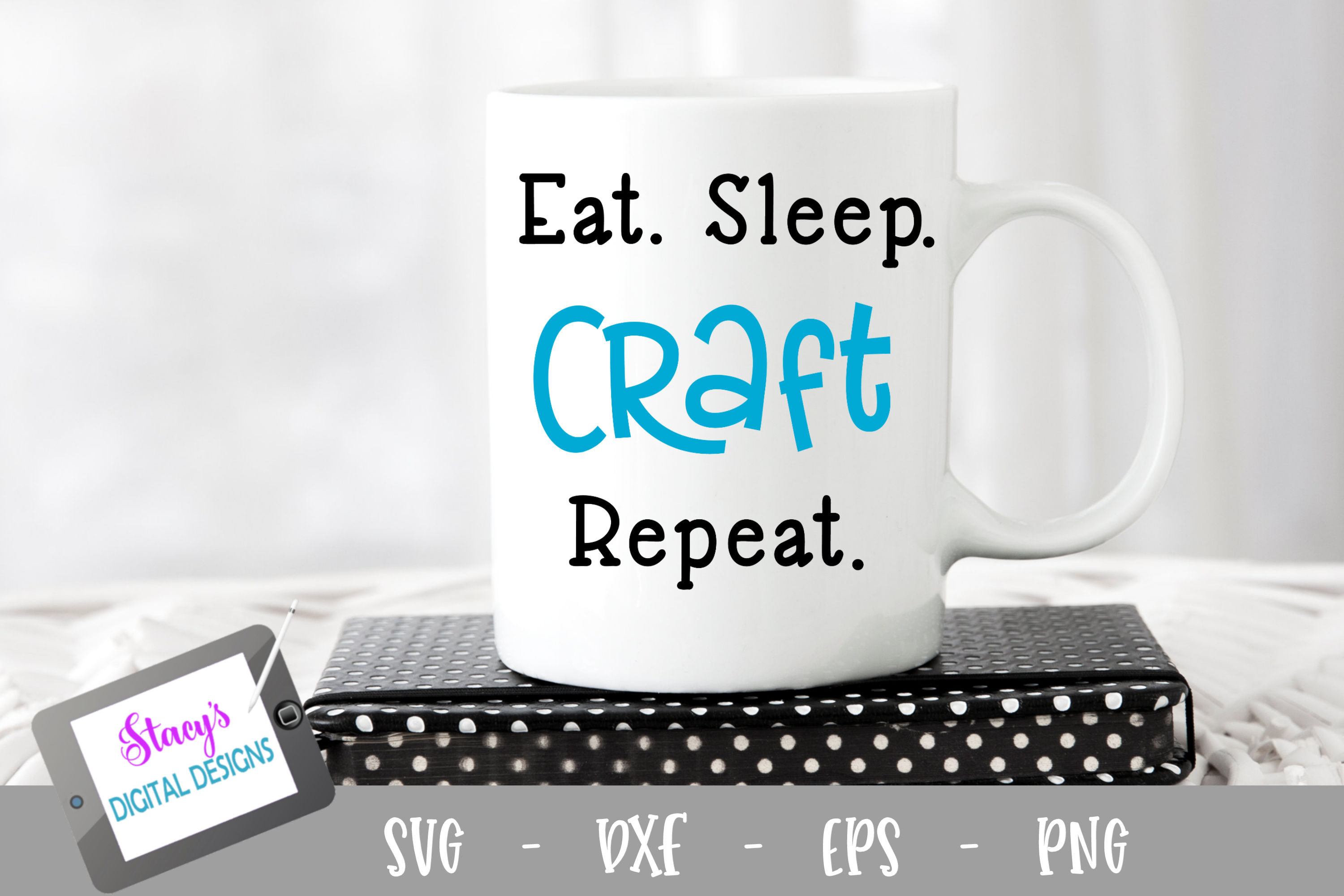 Download Free Eat Sleep Craft Repeat Graphic By Stacysdigitaldesigns for Cricut Explore, Silhouette and other cutting machines.