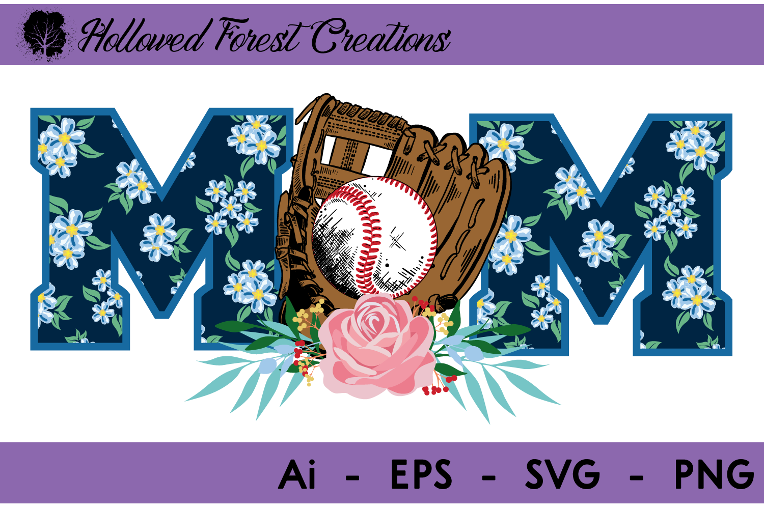 Download Free Floral Baseball Mom Graphic By Hollowedforestcreations for Cricut Explore, Silhouette and other cutting machines.