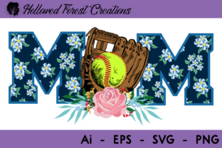 Download Free Floral Softball Mom Graphic By Hollowedforestcreations for Cricut Explore, Silhouette and other cutting machines.