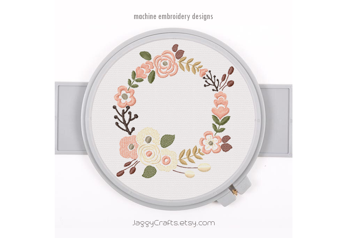 Download Free Large Floral Wreath Creative Fabrica for Cricut Explore, Silhouette and other cutting machines.