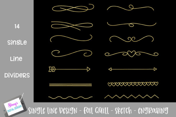 Foil Quill - Single Line Dividers Graphic Crafts By stacysdigitaldesigns