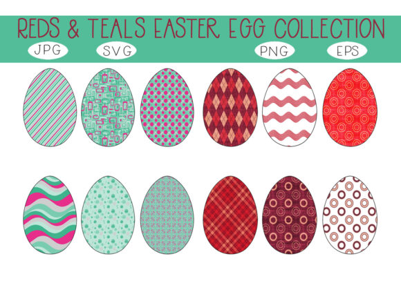 Print on Demand: Fun Pretty Reds Teals Easter Eggs Set Graphic Illustrations By CapeAirForce