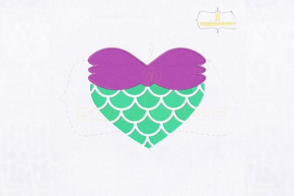 Mermaid Fin Heart Fairy Tales Embroidery Design By royalembroideries