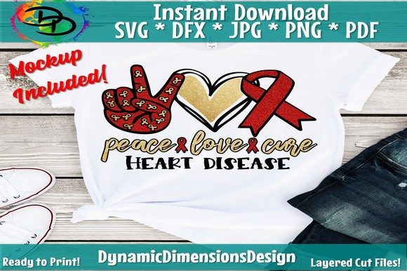 Download Free Peace Love Cure Heart Disease Graphic By Dynamicdimensions for Cricut Explore, Silhouette and other cutting machines.