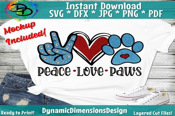 Download Free Peace Love Paws Graphic By Dynamicdimensions Creative Fabrica for Cricut Explore, Silhouette and other cutting machines.