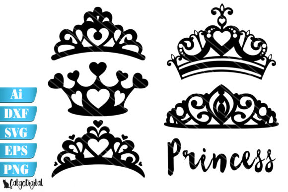 Download Free Princess Crowns Silhouette Crowns Graphic By Catgodigital for Cricut Explore, Silhouette and other cutting machines.