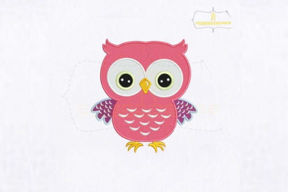 Round Eyes Pink Owl Birds Embroidery Design By royalembroideries