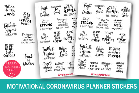 Print on Demand: Motivational Coronavirus Planner Sticker Grafik Plotterdateien von Happy Printables Club