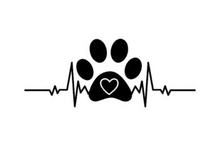 Dog Paw with Heart Beat Dogs Craft Cut File By Creative Fabrica Crafts