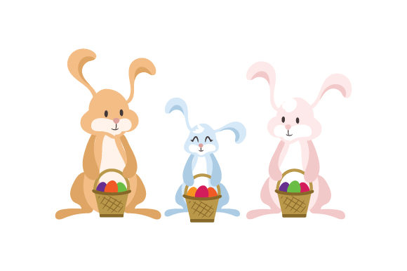 Bunny Family Holding Baskets Easter Craft Cut File By Creative Fabrica Crafts