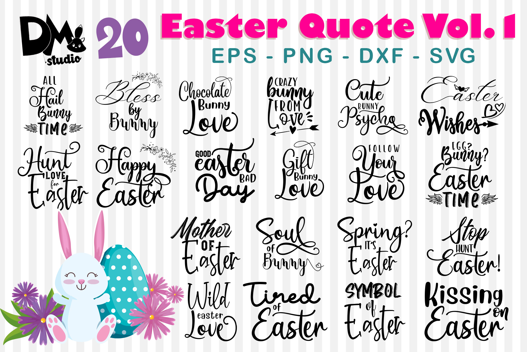 Download Free 20 Easter Quote Vol 1 Graphic By Sharon Dmstudio Creative for Cricut Explore, Silhouette and other cutting machines.
