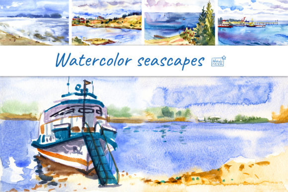 5 Watercolor Digital Seascapes Graphic Illustrations By NataliMyaStore