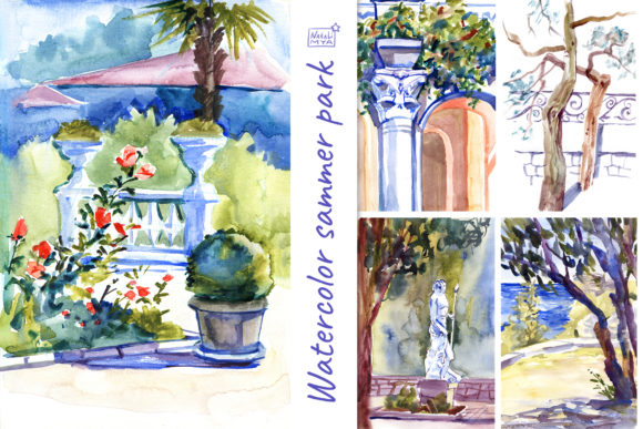 5 Watercolor Summer Landscapes Graphic Illustrations By NataliMyaStore
