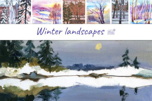 7 Digital Winter Landscapes Graphic Illustrations By NataliMyaStore