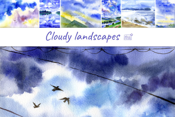 7 Watercolor Cloudy Landscapes Graphic Illustrations By NataliMyaStore