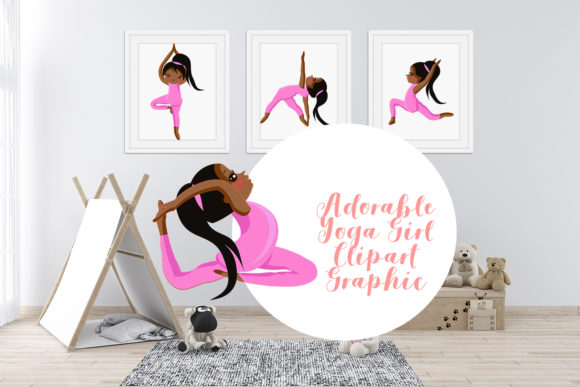 Print on Demand: Adorable Afro Yoga Girl Bundle Clipart Graphic Illustrations By Sintegra