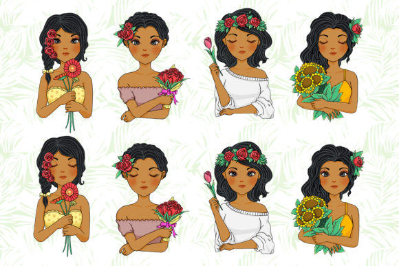 Print on Demand: African American Flower Girl Graphic Illustrations By accaliadigital