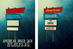 American Diner-Style Signpost Graphic Illustrations By My Little Black Heart