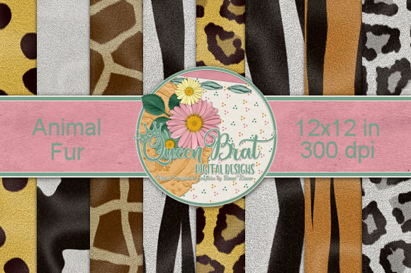 Print on Demand: Animal Fur Backgrounds Graphic Backgrounds By QueenBrat Digital Designs