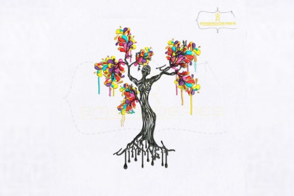 Artistic Woman Tree Forest & Trees Embroidery Design By royalembroideries