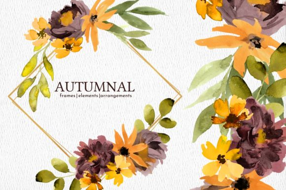 Print on Demand: Autumn Watercolor Flowers Clipart Graphic Illustrations By roselocket